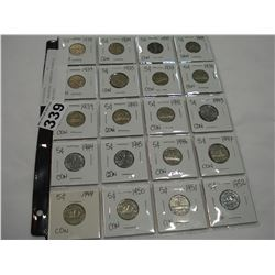 20 ASSORTED CANADIAN NICKELS, 1929-1952
