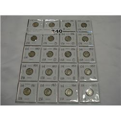 20 USA SILVER DIMES, ASSORTED YEARS, 1919-1955