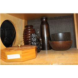 ESTATE WOODEN VASES AND BOWLS AND COVERED BOWL