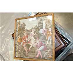 OAK FRAMED FRENCH STYLE TAPESTRY