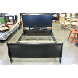 NEW DOUBLE SIZE BALCK AVENZA SLEIGH STYLE BED FRAME RETAIL $949