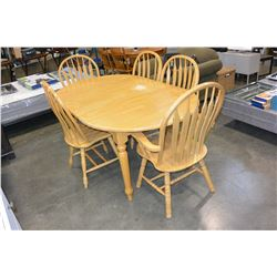 ROUND MAPLE DINING TABLE AND FOUR HOOPBACK CHAIRS AND LEAF