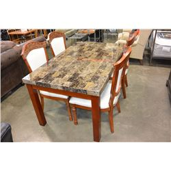 FLOOR MODEL STONE LOOK DINING TABLE AND FOUR CARVED DINING CHAIRS