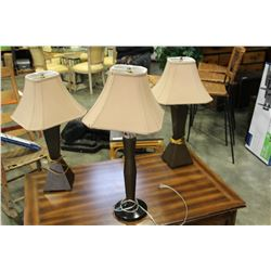 3 DECORATIVE MODERN TABLE LAMPS