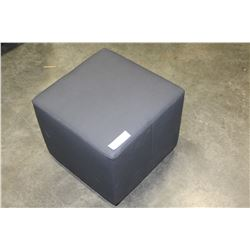 SMALL GREY LEATHER OTTOMAN