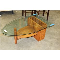 TEAK BASE GLASSTOP BOAT SHAPED COFFEE TABLE, CHIP ON CORNER GLASS