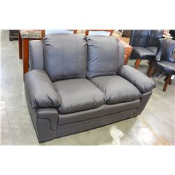 NEW ASHLEY DESIGN BROWN LEATHER CONTEMPORARY COMFORTABLE SEATING LOVESEAT, RETAIL $699