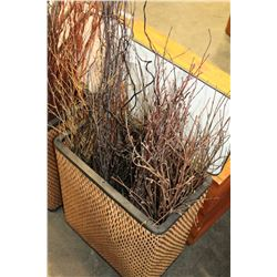 WICKER HAMPER WITH DECORATIVE WOOD STICKS