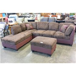 NEW MODERN 2 PIECE SECTIONAL WITH CHAISE, 2 TONE BRON MICROFIBRE COMFORTABLE SEATING, WITH THROW CUS