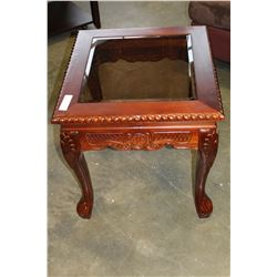 NEW GLASSTOP CARVED SIDE TABLE