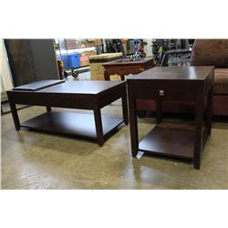 NEW ROLLING LIFT TOP MODERN MAGUNUSSEN COFFEE AND ENDTABLE