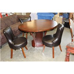 NEW ETZIA IMPERIAL ROUND TABLE AND THREE SWIVEL CHAIRS