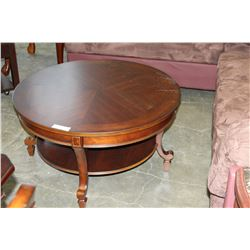 NW ROUND MODERN TWO TIER SOLID WOOD COFFEE TABLE