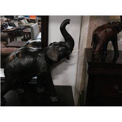 TWO LEATHER ELEPHANTS