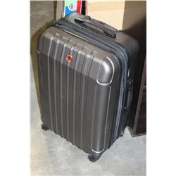 SWISS GEAR GREY HARD SIDE ROLLING TRAVEL SUITCASE
