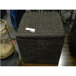 LIDDED WICKER BOX WITH WICKER CONTENTS