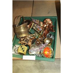GREEN TRAY OF METAL WARE COLLECTIBLES