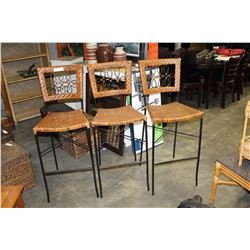 THREE IRON AND WICKER BAR STOOLS