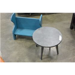 ROUND GREY ENDTABLE AND PAINTED KIDS BENCH