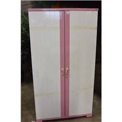 PINK AND WHITE KIDS WARDROBE DRESSER