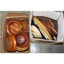 BOX OF TURNED WOODEN BOWLS AND BOX OF WOODEN DISHES