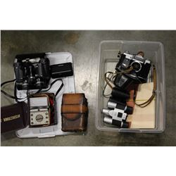 TOTE OF VINTAGE CAMERAS BINOCULARS AND VOLTMETER