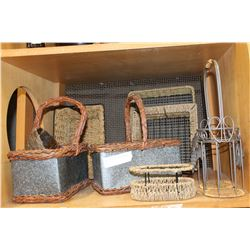 SHELF OF METAL WICKER BASKETS ETC