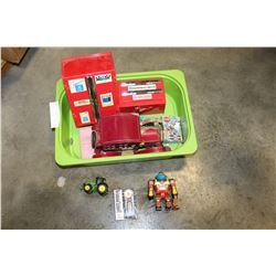 GREEN TRAY OF VINTAGE CARS AND TOOL TOYS