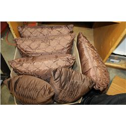 BOX OF BROWN SILK THROW PILLOWS