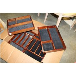 FOUR WOODEN CUTLERY TRAYS
