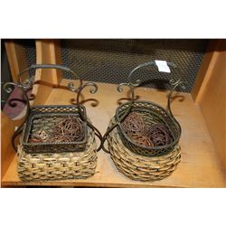 TWO IRON METAL DECORATOR BASKETS