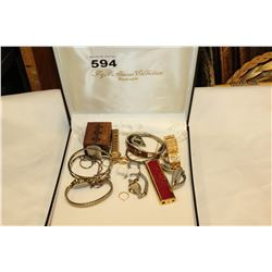 JEWELLRY BOX WITH WATCHES AND VARIOUS JEWELLRY