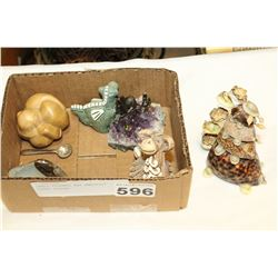 SMALL FIGURES AND AMETHYST CASED FIGURE