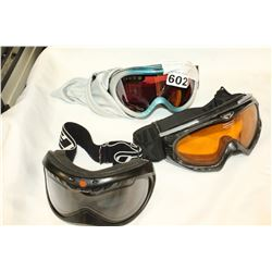 THREE PAIR OF SNOW GOGGLES