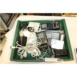 TRAY OF ELECTRONICS AND SCIENTIFIC CALCULATORS
