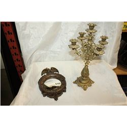 BRASS CANDLEABRA AND SMALL DECORATIVE MIRROR