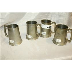 FOUR 1950S BADMINTON PEWTER TROPHY TANKARDS
