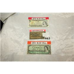 CANADIAN CENTENNIAL ONE DOLLAR BILL AND 1937 BANKNOTE AND SHINPLASTER