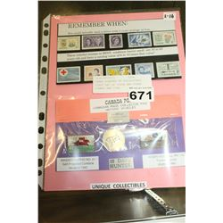 THREE SLEEVES OF COLLECTIBLE FIRST DAY OF ISSUE AND OTHER STAMPS AND PINS