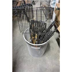 METAL TRASH CAN WITH BBQ TOOLS