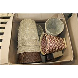 LARGE BOX OF WICKER BASKETS