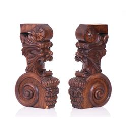 Antique Architectural Elements Carved From Wo