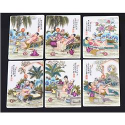 Six Antique Chinese Hand Painted Porcelain