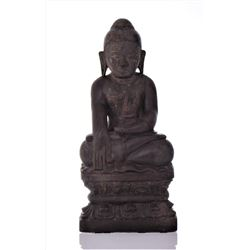 Antique Tibetan Wood Carved Deity Figure With