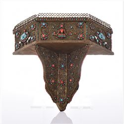 Rare Tibetan Prayer Shelf Decorated And
