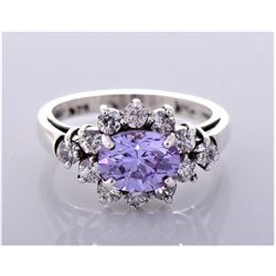 Lavender Sapphire and CZ Diamond Sterling Silver