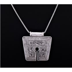 Vintage Sterling Silver Tibetan Pendant And