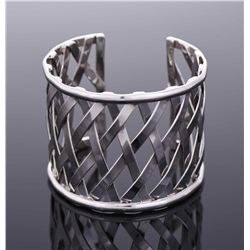 Large Sterling Silver crisscross pattern cuff
