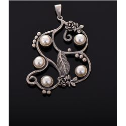 Large Antique Sterling Silver and Pearl pendant