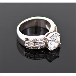 Vintage Round Cut CZ Diamond Gold Over Sterling